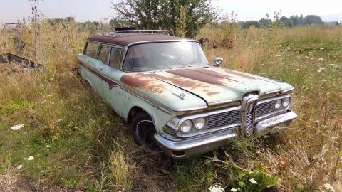 stored outside 1959 Edsel Villager Station Wagon project for sale