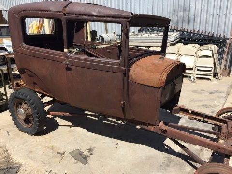 surface rust 1929 Ford Model A 2 door project for sale