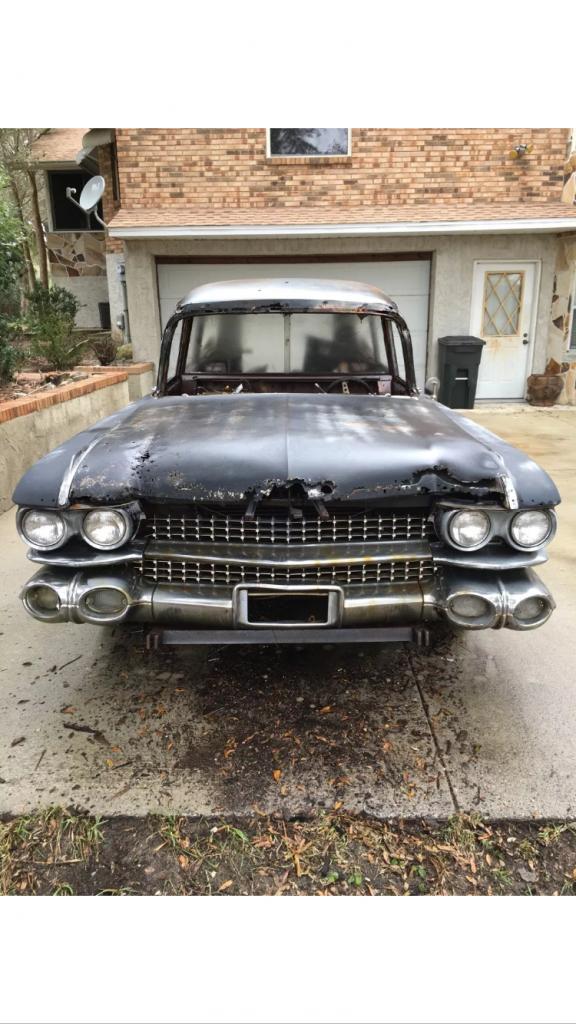 extra parts car 1959 Cadillac DeVille Miller-Meteor hearse