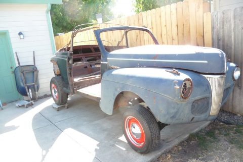 solid 1941 Ford Convertible deluxe project for sale