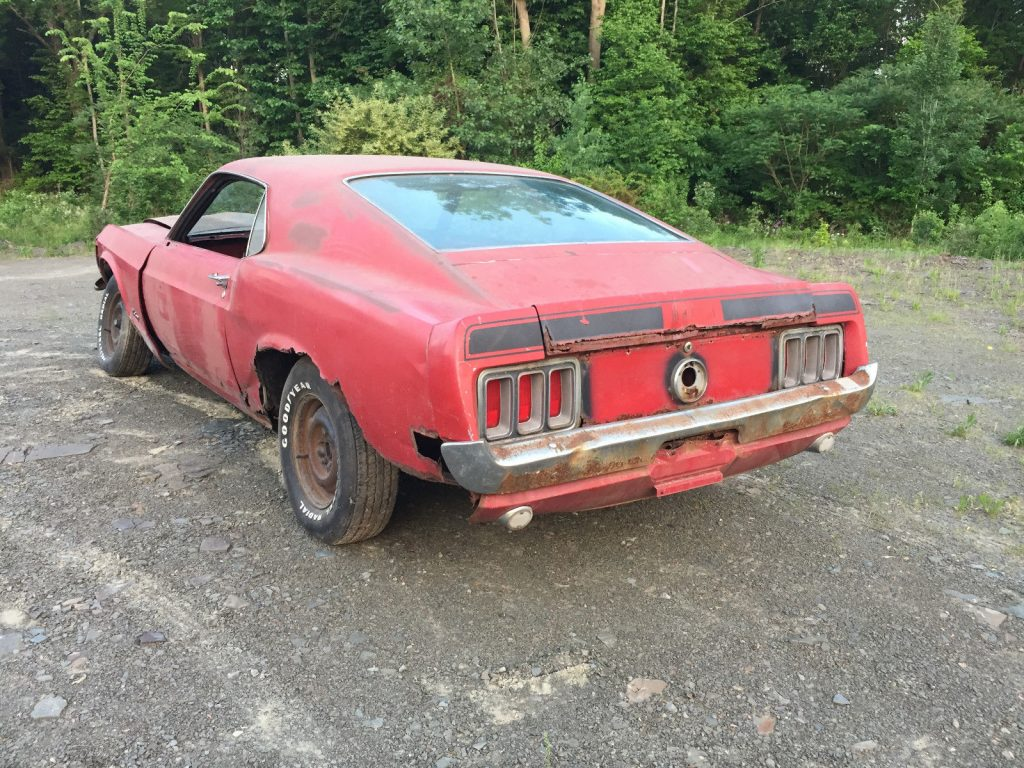 stored inside 1970 Ford Mustang Mach 1 project
