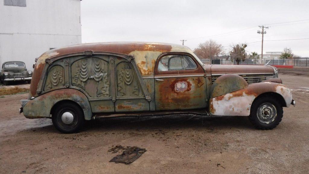 barn find 1938 Cadillac Lasalle S & S Hearse rare project