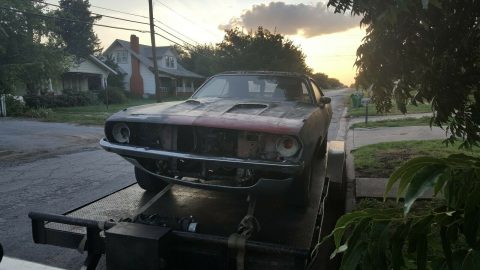 needs a lot of TLC 1973 Plymouth Barracuda CUDA project for sale